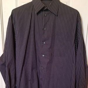 Axcess Dark blue pin striped button up shirt